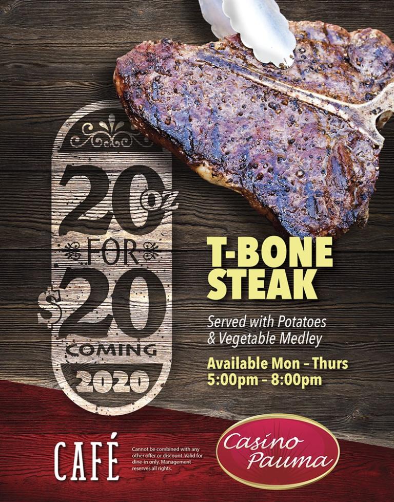 $20 for 20oz Steak